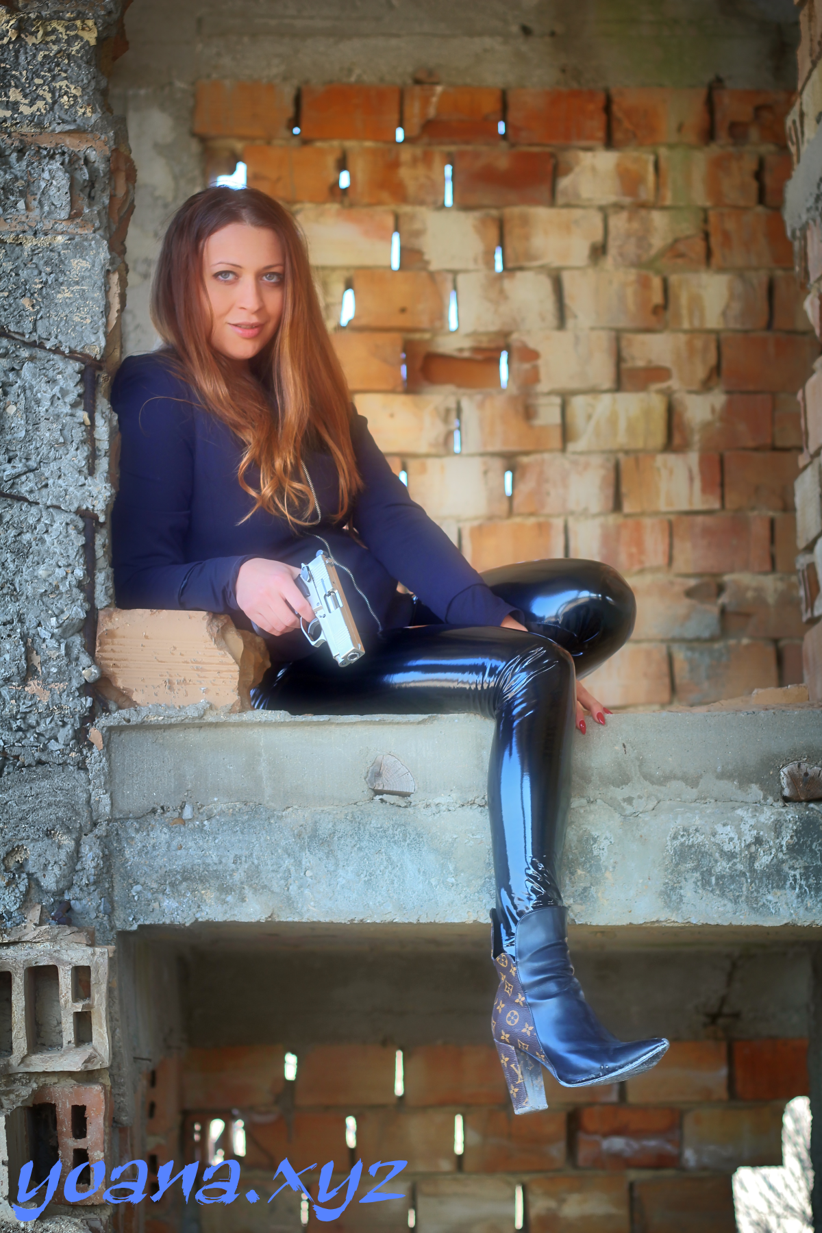 Hot shiny pvc leggings lady
